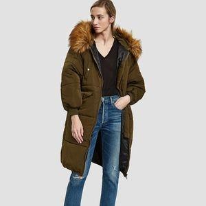 Need Supply Farrow Anka Olive Hooded Puffer Coat Green Oversized Jacket